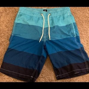 Men's Blue-Striped Swim Trunks